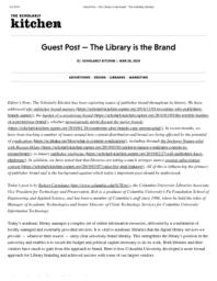 thumnail for Guest Post - The Library is the Brand - The Scholarly Kitchen.pdf