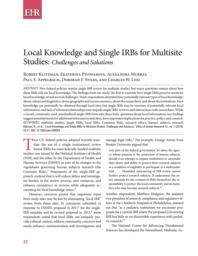 thumnail for Klitzman_Local Knowledge and Single IRBs for Multisite Studies_Challenges and Solutions.pdf