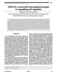 thumnail for Shi D et al., PCDH10 Novel p53 regulator Cell Cycle 2015.pdf