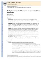 thumnail for Klitzman_The Myth of Community Differences as the Cause of Variations Among IRBs.pdf