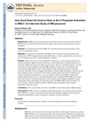 thumnail for Klitzman_How Good Does the Science Have to Be in Proposals Submitted to IRBs_An Interview Study of IRB Personnel.pdf