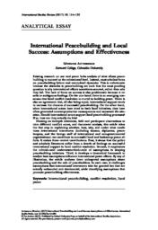 thumnail for International Peacebuilding and Local Success - Severine.pdf
