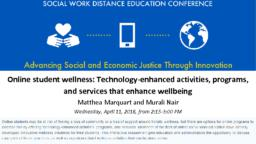 thumnail for SWDE 2018_Marquart and Nair_Online student wellness_final.pdf