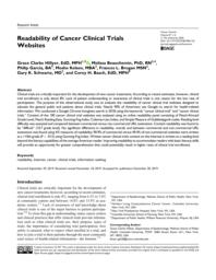 thumnail for Readability of cancer clinical trial websites 2020.pdf