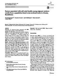 thumnail for Factors associated with self-rated health among migrant workers-- Results from a population-based cross-sectional study in Almaty, Kazakhstan.pdf