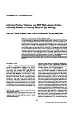 thumnail for Intimate partner violence and HIV risk among urban minority women in primary care_Wu et al_2003.pdf