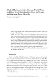 thumnail for A Safavid Bureaucrat in the Ottoman World Mirza Makhdum Sharifi Shirazi and the Quest for Upward Mobility in the İlmiye Hierarchy.pdf