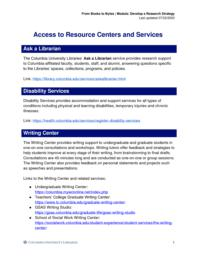thumnail for Access to Resource Centers and Services.pdf