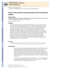 thumnail for Klitzman_Views of Discrimination Among Individuals Confronting Genetic Disease.pdf