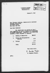 Letter from E. Franklin Frazier to Florence Anderson, January 8, 1943