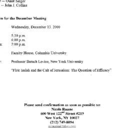 Announcements, 2000-12-13. ...