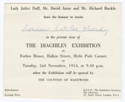 Observer Diaghilev Exhibition Invitation for Monsieur Matislav Dobuzinsky