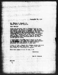 Letter from Guy B. Johnson to Charles S. Magnum Jr., September 28, 1939