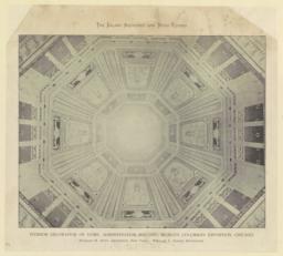 Interior decoration of dome, Administration Building, World's Columbian Exposition, Chicago. Richard M. Hunt, Architect, New York. William L. Dodge, Decorator