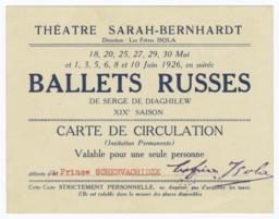 Ballets Russes de Serge de Diaghilew XIXe Saison Carte de Circulation, délivrée à M. Prince Schervachidze
