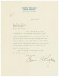 Letter from Edwin Seligman to Frances Perkins