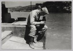 Barney Rosset With Camera By Water