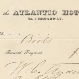 Atlantic Hotel. Bill or rec...