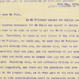 Typed Letter To George Post