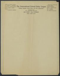 International Colored Unity League, undated : letterhead [President and National Organizer: Dr. Hubert H. Harrison]