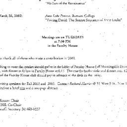 Announcements, 2002-03-05. ...