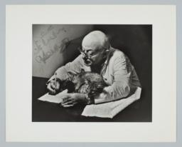 Photograph of Henry Cowell with Cat