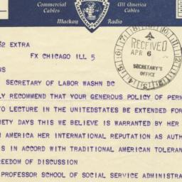 Telegram to Secretary of La...