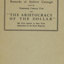 Remarks of Andrew Carnegie ...