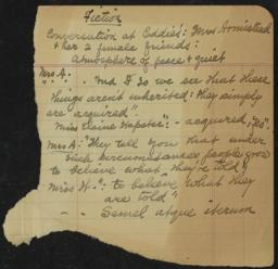 Fiction, undated : autograph manuscript notes