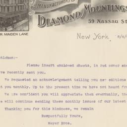 Meyer Bros. Letter
