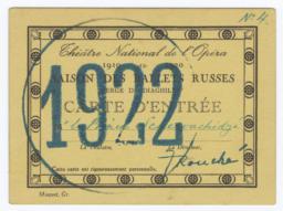 Théâtre National de l'Opéra 1919 - 1920 Saison des Ballets Russes, Serge de Diaghilew, Carte d'Entrée for M. le Prince Schervachidze