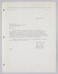 Letter from Associate Dean Platt to student Ted Gold