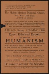 Hubert Harrison Memorial Church, 27 May 1928 : broadside