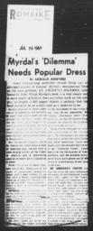 "Article, ""Myrdal's 'Dilemma' Needs Popular Dress,"" Gerald Ashford, SAN ANTONIO EXPRESS, July 26, 1953"