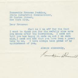Typed letter to Frances Per...