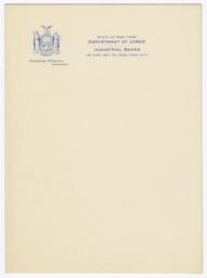 State of New York Department of Labor Industrial Board Letterhead