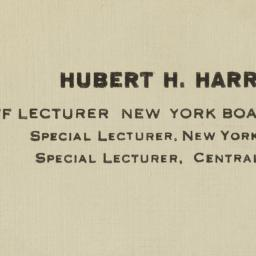 Harrison, Hubert H. to Lin ...