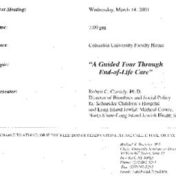 Announcements, 2001-03-14. ...