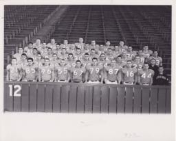 1961 Columbia Football Team Sitting in Baker Field Stands