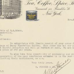 B. Fischer & Co. Inc. Letter