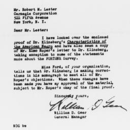 Letter from Robert M. Leste...