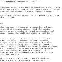 Announcements, 2000-10-18. ...