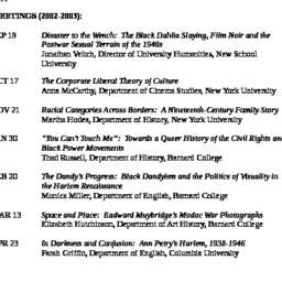 Schedules, American Studies...
