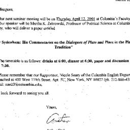 Announcements, 2001-04-12. ...