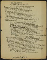 To Sappho at the Telephone : poem, undated : autograph manuscript