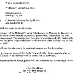 Announcements, 2001-01-24. ...