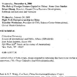 Announcements, 2000-12-06. ...