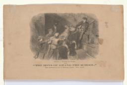 """Getting a Donkey Up Stairs, from """"The Boys of Grand Pré School,"""" published by Lee & Shepard, Boston (verso)"""