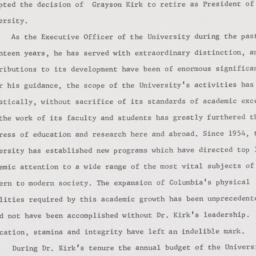 President Grayson Kirk stat...