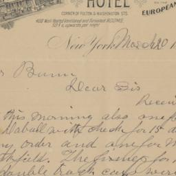 Smith & McNell's Hotel. Letter